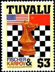 Tuvalu issues stamp honoring Anatoly Karpov and Bobby Fischer