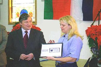 Anatoly Karpov receives special postal cancellation honoring his visit to Lindsborg, Kansas